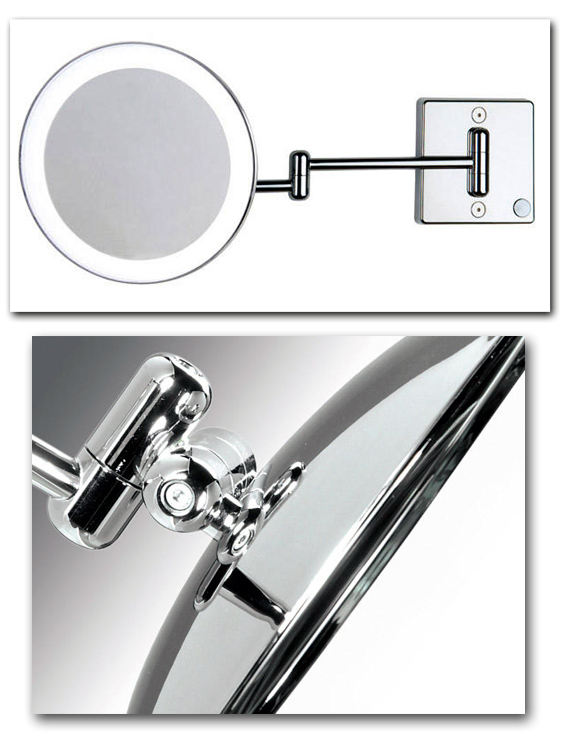 Kosmetikspiegel beleuchtet mit Vergrösserung am beweglichen Doppelgelenkarm Art.Nr.: 9036