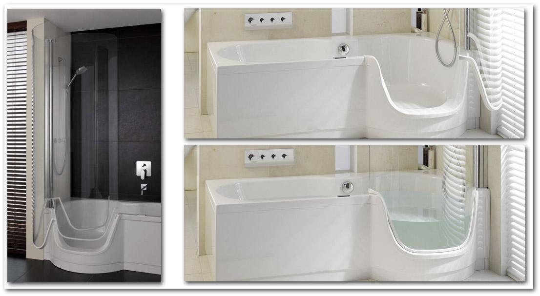 Duschwanne und Badewanne mit Seiteneinstieg ( Türe )