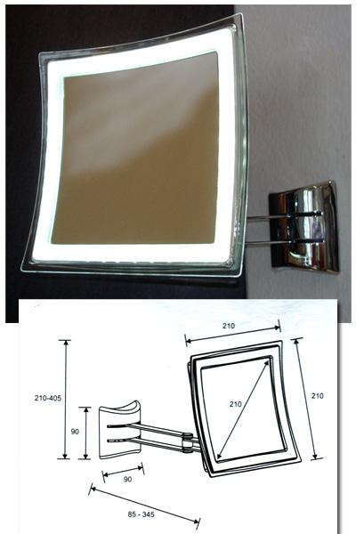Kosmetikspiegel LED beleuchtet mit Batterie-betrieb, Art.Nr.: 362042